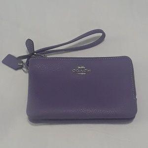 NWT Coach Double Corner Wristlet Light Purple